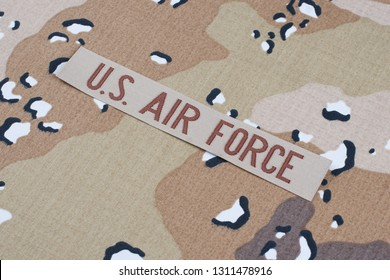 May 12, 2018. US AIR FORCE branch tape on Desert Battle Dress Uniform
