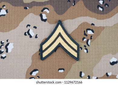 May 12, 2018. US ARMY Corporal rank patch on desert camouflage uniform