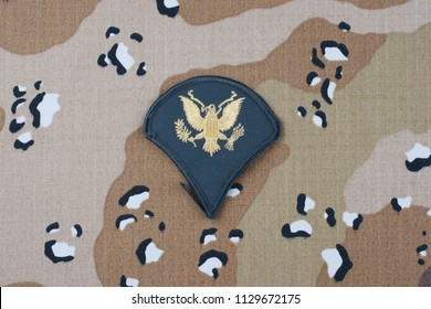 May 12, 2018. US ARMY Specialist rank patch on desert camouflage uniform
