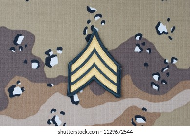 May 12, 2018. US ARMY Sergeant rank patch on desert camouflage uniform