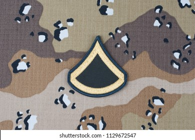 May 12, 2018. US ARMY Private First Class rank patch on desert camouflage uniform