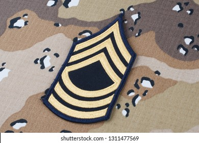 May 12, 2018. US ARMY Master Sergeant rank patch on Desert Battle Dress Uniform