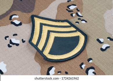 May 12, 2018. US ARMY Staff Sergeant rank patch on desert camouflage uniform