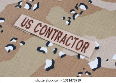 May 12, 2018. US CONTRACTOR branch tape on Desert Battle Dress Uniform