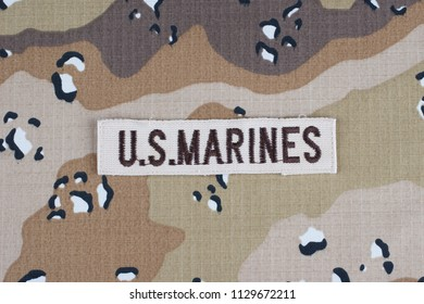 May 12, 2018. US MARINES branch tape on desert camouflage uniform