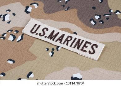 May 12, 2018. US MARINES branch tape on Desert Battle Dress Uniform