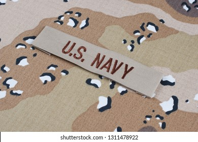 May 12, 2018. US NAVY branch tape on Desert Battle Dress Uniform