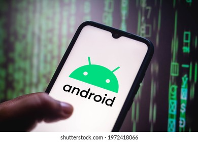 May 12, 2021, Brazil. In this photo illustration the Android logo seen displayed on a smartphone screen