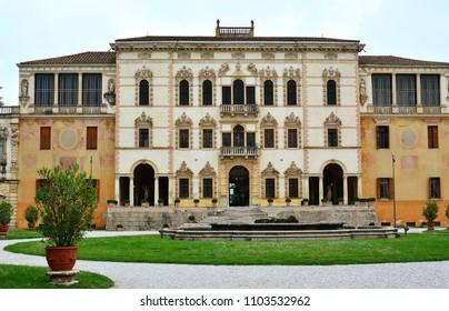 May, 12 th 2018 - Piazzola sul Brenta Padova, Italy. Villa Contarini panoramic view of an ancient villa by Andrea Palladio.