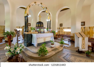 May 13, 2017. Interior of the church of the Beatitudes, roman catholic church located by Sea of Galilee near Tabgha and Capernaum at the Mount of Beatitudes, Israel.