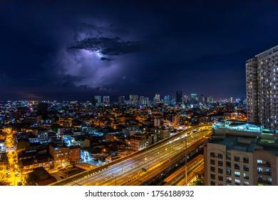 May 13, 2020 Lightning strikes at night in Manila, Manila, Philippines