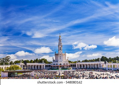 May 13th Celebration of Mary's Appearance Basilica of Lady of Rosary Bell Tower Fatima Portugal. Site where three Portuguese Shepherd children saw Virgin Mary of the Rosary.  Basilica created in 1953.