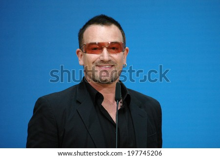"MAY 14, 2007 - BERLIN: Bono (aka: Paul David Hewson), singer of the band ""U2"" in the Willy Brandt House of the SPD, Berlin."