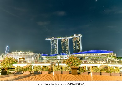 May 14,2016: Singapore - View of Marina Bay Sands and The Fullerton Pavilion .