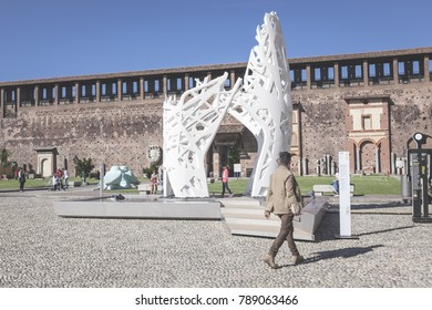 May 15, 2014 - Milan (Italy) - ENTREEPIC - Sculptural composition in biodynamic cement that evokes a botanical system, on display in the Castello Sforzesco in Milan