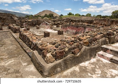 May 15, 2014 Teotihuacan, Mexico: ancient Aztec ruin stuctures with the Pyramid of the Sun in the background at the Teotihucan archaeologic site