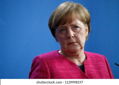 MAY 15, 2017 - BERLIN: German Chancellor Angela Merkel at a press conference after a meeting with the French President in the Chanclery.
