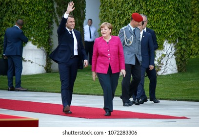 MAY 15, 2017 - BERLIN: the newly elected French President Emmanuel Macron and German Chancellor Angela Merkel at a reception with military honours in the Chanclery in Berlin.
