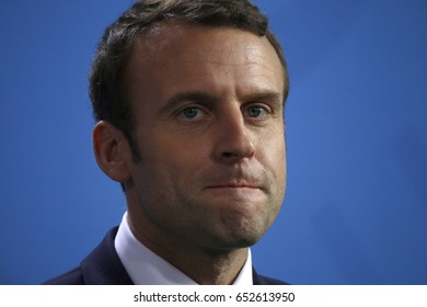 MAY 15, 2017 - BERLIN: the newly elected French President Emmanuel Macron at a press conference after a meeting with the German Chancellor in the Chanclery in Berlin.
