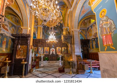 May 15, 2017. Interior of the Greek Orthodox Church of the Annunciation in Nazareth, Israel.