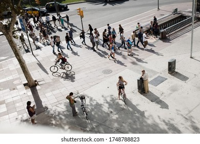 May 15 2019, Barcelona Spain: Street view From Window. Barcelona Streets. People and tourists in Spain. Live of the city. Street view with tourists.