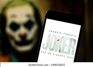 May 15, 2019, Brazil. In this photo illustration the Joker movie logo is displayed on a smartphone.