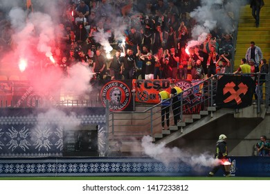 MAY 15, 2019 - ZAPORIZHYA, UKRAINE: Impressive spectacular pyro fire show by FC Shakhtar Donetsk ulras and fans. Ukrainian Cup Final. Inhulets - Shakhtar Donetsk