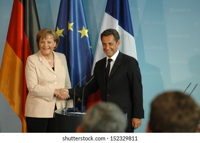 MAY 16, 2007 - BERLIN: German Chancellor Angela Merkel with French President Nicolas Sarkozy at the first offical visit of the newly elected French President in Germany, Chanclery, Berlin.