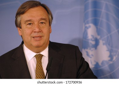 MAY 17, 2006 - BERLIN: Antonio Guterres (High Commissioner of the United Nations) at a press conference in the Foreign Ministry in Berlin.