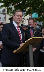 May 17, 2014. Dublin, Ireland. Irish Prime Minister, Enda Kenny, speaks to a crowd of people at the opening of a memorial to the victims of the 1974 Dublin bombings.