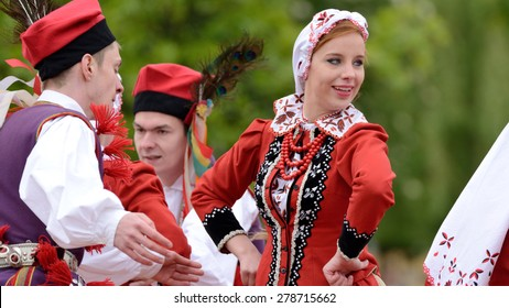 "May 17, 2015 Lodz, Poland, Polish traditional folk dance.Folk Song and Dance Ensemble ""Lodz"".CKM- Cultural Center. May 17, 2015 Lodz, Poland"