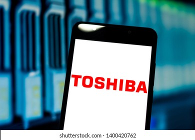 May 17, 2019, Brazil. In this photo illustration the Toshiba Corporation logo is displayed on a smartphone.