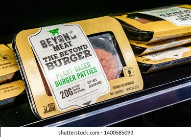 May 17, 2019 Cupertino / CA / USA - Beyond Meat Burger packages available for purchase in a Whole Foods store in San Francisco bay area