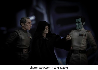 MAY 17 2021:  MAY 17 2021: Star Wars Emperor Palpatine, Admiral Thrawn and Grand Moff Tarkin aboard the Death Star - Hasbro action figure- Hasbro action figure