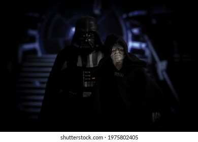MAY 17 2021:  Star Wars Emperor Palpatine and Sith Lord Darth Vader aboard the Death Star - Hasbro action figure