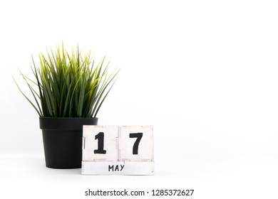 May 17. Day 17 of may month, calendar on white background. Spring time