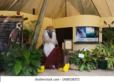 May 18, 2019-Davao Philippines : Information center at the Philippine Eagle center in Davao Philippines. This garden is protected area where you can see different species of the Philippine Eagle