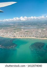 May 18th 2019 - Recife, Pernambuco, Brazil - Aerial view of Praia Boa Viagem, the main beach in Recife, capital of Pernambuco State