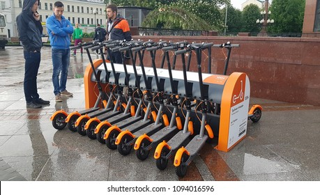 MAY 19, 2018, MOSCOW, RUSSIA: Electric Kick scooter in sharing parking lot. New sharing business project started 19 of may 2018 in Moscow.