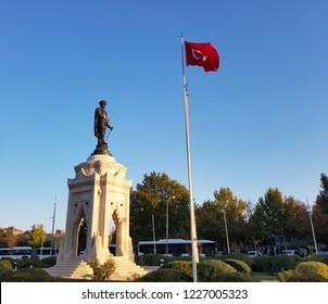 May 19 Ataturk's sculpture in Samsun. 19 May youth and sports holiday. Konya - Turkey. 19 May 2018.