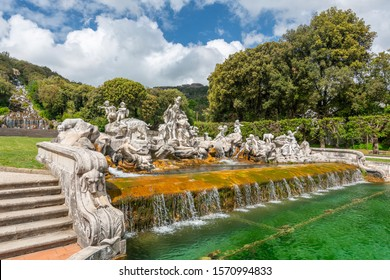 May 19,2019. Artificial waterfall in the garden of the Royal Palace of Caserta (Caserta Royal Palace), Italy.