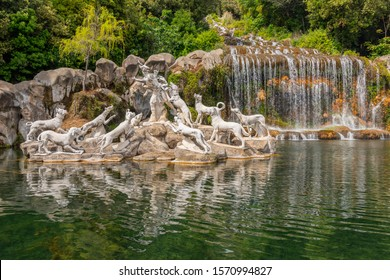 May 19,2019. Fountain of Diana and Actaeon, mythological statues of nymphs and gods in the garden Royal Palace in Caserta, Italy.