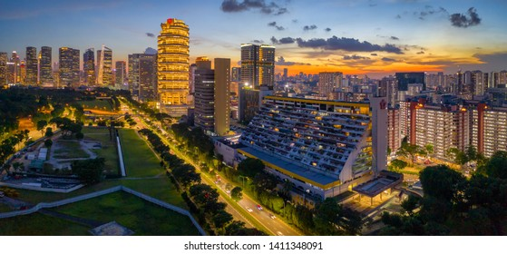 May 19/2019 Sunset at Nicoll Highway overlooking to Golden Mile Complex, Singapore