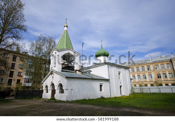 May 1st 2016 - Mid-Pentecostal Church (1494) / Church of Pentecost in the cutting off of the Saviour farmstead, situated in-between soviet building at Detskaya street, Pskov, Russia