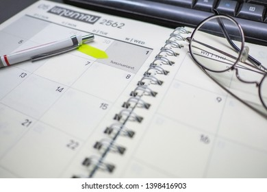 May 1st. Image of may 1 white calendar with pencil. International Workers' Day. Labor day concept. Bangkok Thailand. selective focus - Image