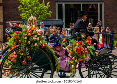 May 2, 2019, Pella, Iowa, USA. Tulip Time Festival Parade of Pella's dutch community, a festival dedicated to the citizens who immigrated from the Netherlands to America.