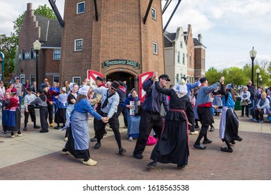 May 2, 2019, Pella, Iowa, USA. Folk dance in national dutch costume during the Tulip Time Festival of Pella's dutch community, a festival dedicated to the citizens immigrated from the Netherlands