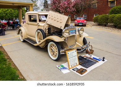 May 2, 2019, Pella, Iowa, USA. Tulip Time Festival Parade of Pella's dutch community, a presentation  of old, vintage automobile, car.