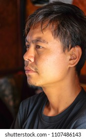 May 2 208 - Myeik Archipelago. Portrait of Burmese tour guide on cruise ship.