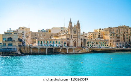 May 20, 2018. St. Julian, Malta. Amazing view of the Spinola bay and the town of St. Julian.